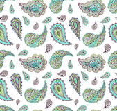 Watercolor Turquoise and Green Paisley Repeat Pattern Royalty Free Stock Photography