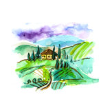 Watercolor Tuscany landscape. Hand drawn beautiful illustration. Use for postcard, poster and web design stock illustration