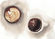 Watercolor two cups of coffee stock illustration
