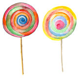 Watercolor two lollipop Royalty Free Stock Image