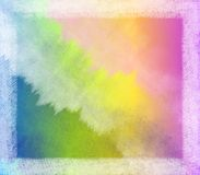 Watercolor Tye Dyed Frame. A background frame texture featuring a watercolor style backdrop in gradient colors with opaque white chalk-like border Royalty Free Stock Photography