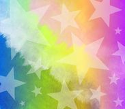 Watercolor Tye Dyed Stars Stock Photo