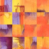 Watercolor ultraviolet and red geometric background. Watercolor ultraviolet red yellow background. Seamless pattern squares Stock Photography