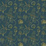 Watercolor undersea seamless pattern. Hand painted golden octopus, turtle, seahorse, laminaria, shell and coral reef. Plants isolated on white background. Line stock image