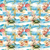 Watercolor underwater seamless pattern. Hand painted crab, jellyfish, seahorse and shell illustration isolated on blue. Background with stripes. Nautical stock images