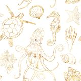 Watercolor underwater seamless pattern. Hand painted golden octopus, turtle, seahorse, laminaria, shell and coral reef. Plants isolated on white background stock illustration