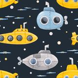 Watercolor underwater submarine pattern. Beautiful seamless pattern with watercolor sea life underwater submarine illustrations royalty free illustration
