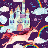 Watercolor unicorn and castle seamless pattern Royalty Free Stock Image