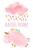 Watercolor unicorn and cloud with rain. Cute pink watercolor unicorn and cloud with rain and rainbow. Set of watercolor objects isolated on white background for Royalty Free Stock Photos