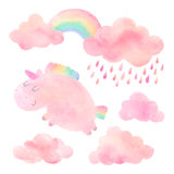 Watercolor unicorn and clouds with rain and rainbow. Cute pink watercolor unicorn and cloud with rain and rainbow. Set of watercolor objects isolated on white Royalty Free Stock Photography