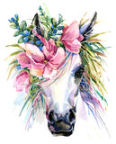 Watercolor unicorn illustration. White horse in flower wreath Royalty Free Stock Photos