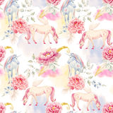 Watercolor unicorn and pegasus pattern. Beautiful seamless pattern with hand drawn watercolor unicorns pegasus and flowers Royalty Free Stock Image