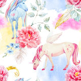 Watercolor unicorn and pegasus pattern. Beautiful seamless pattern with hand drawn watercolor unicorns pegasus and flowers Stock Photo