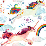Watercolor Unicorn Seamless Pattern Stock Image