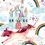 Watercolor Unicorn Seamless Pattern Stock Photo