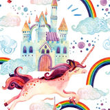 Watercolor unicorn seamless pattern Stock Photo