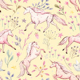 Watercolor unicorn vector pattern Stock Image