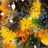 Watercolor universe with stars, square cosmos illustration Stock Photography