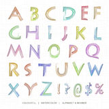 Watercolor uppercase alphabet and notation. Royalty Free Stock Photos