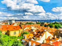 Watercolor urban landscape. Prague, Czech Republic. Abstract watercolor urban landscape. Prague, Czech Republic. View from the observation deck, tiled roofs royalty free stock image