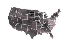 Watercolor USA map vector in black painting color with borders of the states on white background illustration stock illustration