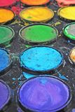 Watercolor used paint palette. Used palette can illustrate creative art work or any other concept. Royalty Free Stock Photos