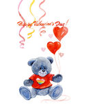 Watercolor Valentine 's Day gay card with bear and hearts isolated Royalty Free Stock Photo