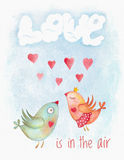 Watercolor Valentine Day card with birds couple Royalty Free Stock Photography
