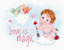 Watercolor Valentine Day cupid angel. Cartoon baby boy with gift and arrow against lovely birds couple Stock Photos