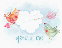 Watercolor Valentine Day symbol Royalty Free Stock Images