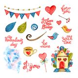 Watercolor Valentine elements set. Lettering Home sweet home. Love, birds, coffee, hearts, garland, clouds, leaves. Watercolor Valentine elements set. Lettering vector illustration