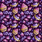 Watercolor Valentine pattern stock illustration