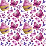 Watercolor Valentine pattern stock illustration