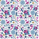 Watercolor Valentine pattern royalty free illustration
