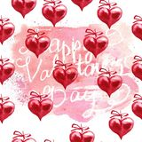 Watercolor Valentine`s day background. Red hearts. Hand painted illustration Stock Image