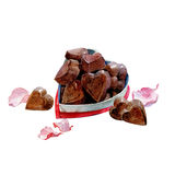 Watercolor Valentine`s Day card chocolate candy hearts isolated Stock Images