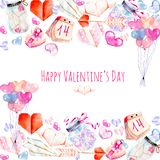 Watercolor Valentine`s Day elements greeting card hearts, origami, arrow, gift box, air balloons. Hand painted on a white background, festive design Stock Image
