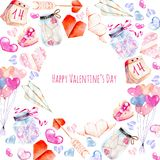 Watercolor Valentine`s Day elements greeting card hearts, origami, arrow, gift box, air balloons. Hand painted on a white background, festive design, romantic Stock Image
