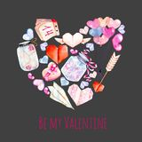 Watercolor Valentine`s Day elements Heart illustration  from hearts, origami, arrow, gift box, air balloons Stock Images