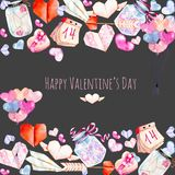 Watercolor Valentine`s Day elements Heart illustration  from hearts, origami, arrow, gift box, air balloons. Hand painted on a dark background, for Valentine`s Royalty Free Stock Photo