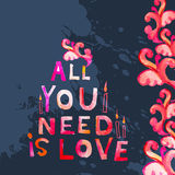 Watercolor Valentine's  day greeting card Stock Images