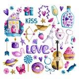Watercolor Valentine`s Day stock illustration