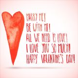 Watercolor Valentine's day lettering. Valentine's day lettering isolated on pink background Stock Images