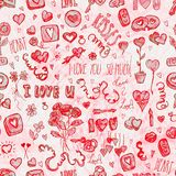 Watercolor Valentine's day pattern. Watercolor textured Valentine's day pattern with pink and red colors Royalty Free Stock Image