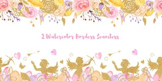 2 Watercolor Valentine`s Day Seamless Borders. royalty free illustration