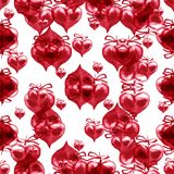 Watercolor Valentine`s day seamless pattern. Hand painted red he. Arts Stock Photos
