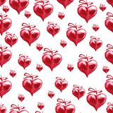 Watercolor Valentine`s day seamless pattern. Hand painted red he. Arts Stock Photo