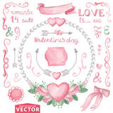 Watercolor Valentine's day  set.Pink roses wreath. Watercolor Valentines day ,wedding set.Floral group of pink roses.Cute vintage elements, swirls decor and Stock Image