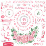 Watercolor Valentine's day,wedding set.Pink roses Royalty Free Stock Photo