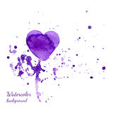 Watercolor Valentines Day Heart with a hand-drawn painted violet watercolor heart with violet and pink splashes Stock Photos